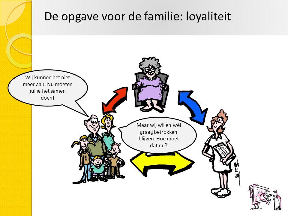 De opgave voor de familie: loyaliteit Wij kunnen het niet meer aan. Nu moeten jullie het samen doen! Maar wij willen wèl graag betrokken blijven. Hoe