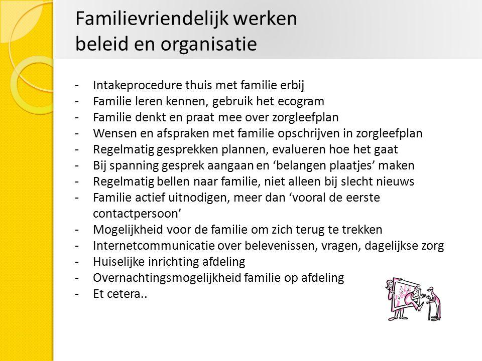 Familievriendelijk werken beleid en organisatie -Intakeprocedure thuis met familie erbij -Familie leren kennen, gebruik het ecogram -Familie denkt en