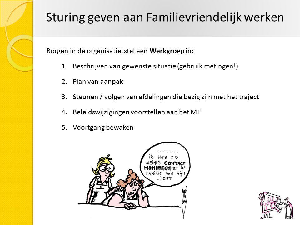 Borgen in de organisatie, stel een Werkgroep in: 1.Beschrijven van gewenste situatie (gebruik metingen!) 2.Plan van aanpak 3.Steunen / volgen van afde