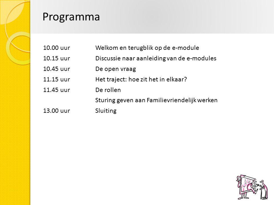 Programma 10.00 uurWelkom en terugblik op de e-module 10.15 uur Discussie naar aanleiding van de e-modules 10.45 uurDe open vraag 11.15 uurHet traject