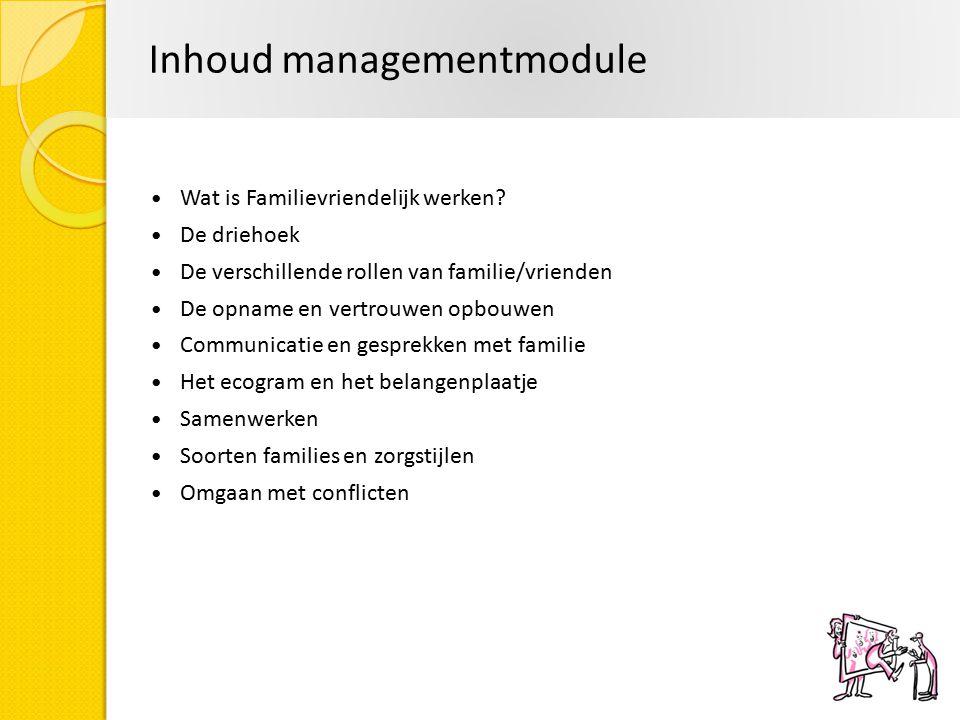Inhoud managementmodule Wat is Familievriendelijk werken? De driehoek De verschillende rollen van familie/vrienden De opname en vertrouwen opbouwen Co