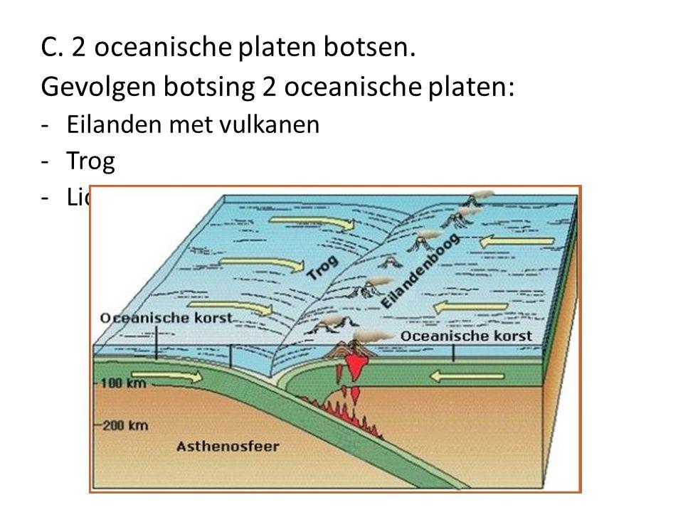 C. 2 oceanische platen botsen. Gevolgen botsing 2 oceanische platen: -Eilanden met vulkanen -Trog -Lichte aardbevingen