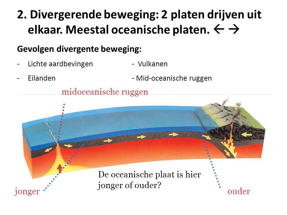2. Divergerende beweging: 2 platen drijven uit elkaar. Meestal oceanische platen.   Gevolgen divergente beweging: -Lichte aardbevingen- Vulkanen -Ei