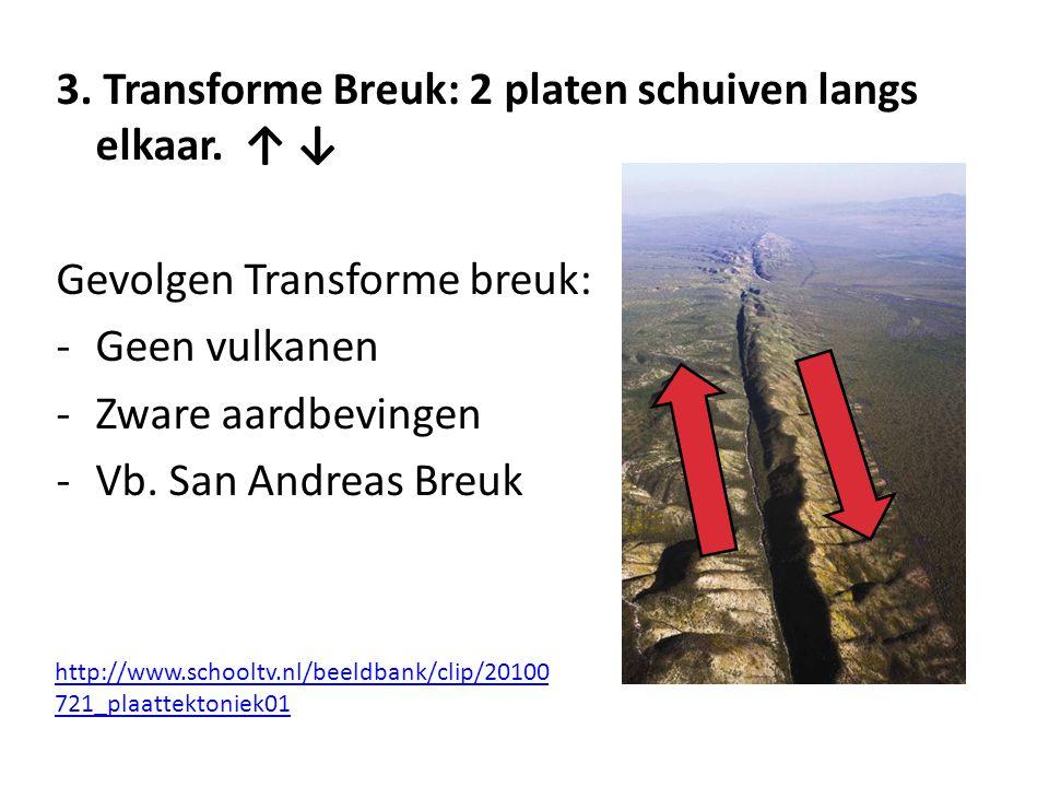 3. Transforme Breuk: 2 platen schuiven langs elkaar. ↑ ↓ Gevolgen Transforme breuk: -Geen vulkanen -Zware aardbevingen -Vb. San Andreas Breuk http://w