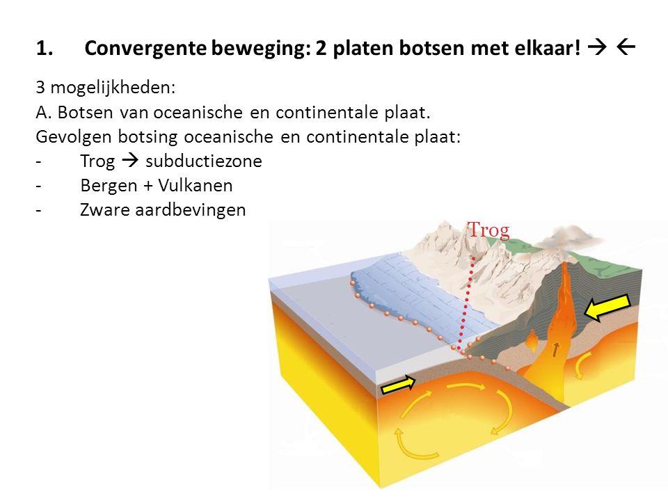 1.Convergente beweging: 2 platen botsen met elkaar!   3 mogelijkheden: A. Botsen van oceanische en continentale plaat. Gevolgen botsing oceanische e