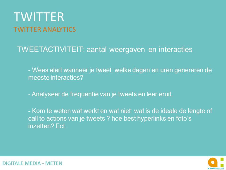 TWITTER TWITTER ANALYTICS 69 DIGITALE MEDIA - METEN TWEETACTIVITEIT: aantal weergaven en interacties - Wees alert wanneer je tweet: welke dagen en uren genereren de meeste interacties.
