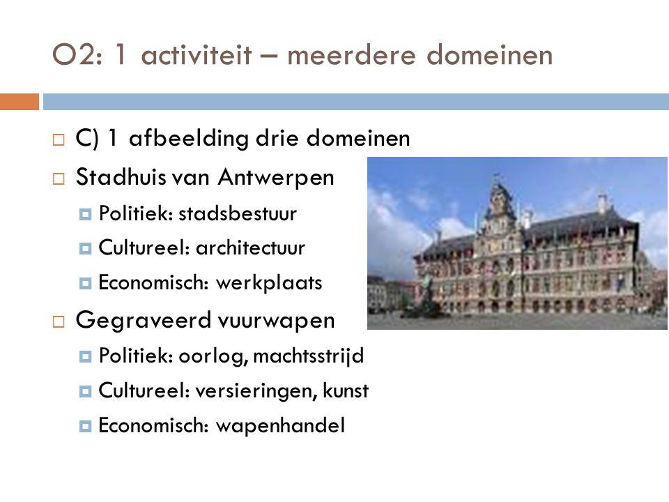 O2: 1 activiteit – meerdere domeinen  C) 1 afbeelding drie domeinen  Stadhuis van Antwerpen  Politiek: stadsbestuur  Cultureel: architectuur  Eco