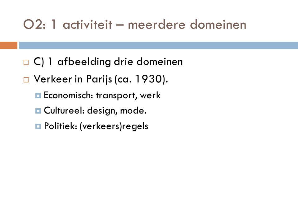 O2: 1 activiteit – meerdere domeinen  C) 1 afbeelding drie domeinen  Verkeer in Parijs (ca. 1930).  Economisch: transport, werk  Cultureel: design