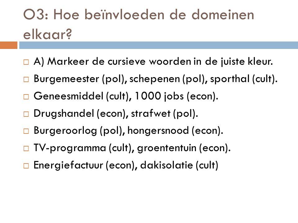 O3: Hoe beïnvloeden de domeinen elkaar?  A) Markeer de cursieve woorden in de juiste kleur.  Burgemeester (pol), schepenen (pol), sporthal (cult). 