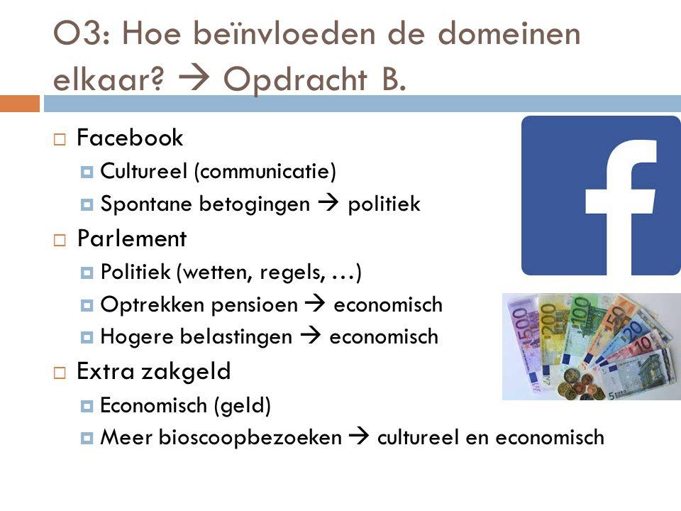 O3: Hoe beïnvloeden de domeinen elkaar?  Opdracht B.  Facebook  Cultureel (communicatie)  Spontane betogingen  politiek  Parlement  Politiek (w