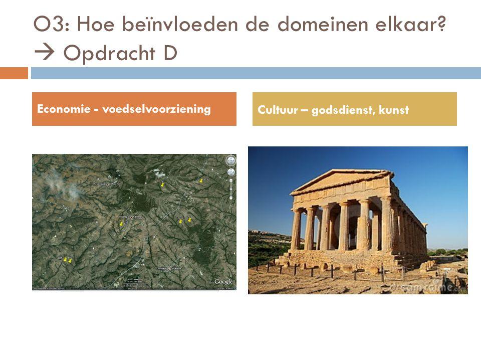 O3: Hoe beïnvloeden de domeinen elkaar?  Opdracht D Economie - voedselvoorziening Cultuur – godsdienst, kunst