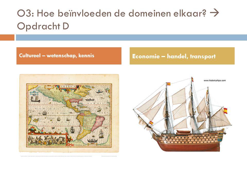 O3: Hoe beïnvloeden de domeinen elkaar?  Opdracht D Cultureel – wetenschap, kennis Economie – handel, transport