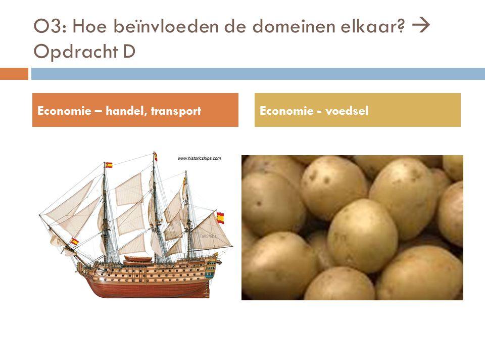 O3: Hoe beïnvloeden de domeinen elkaar?  Opdracht D Economie – handel, transportEconomie - voedsel