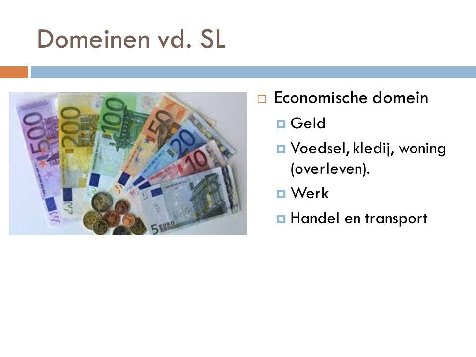 Domeinen vd. SL  Economische domein  Geld  Voedsel, kledij, woning (overleven).  Werk  Handel en transport