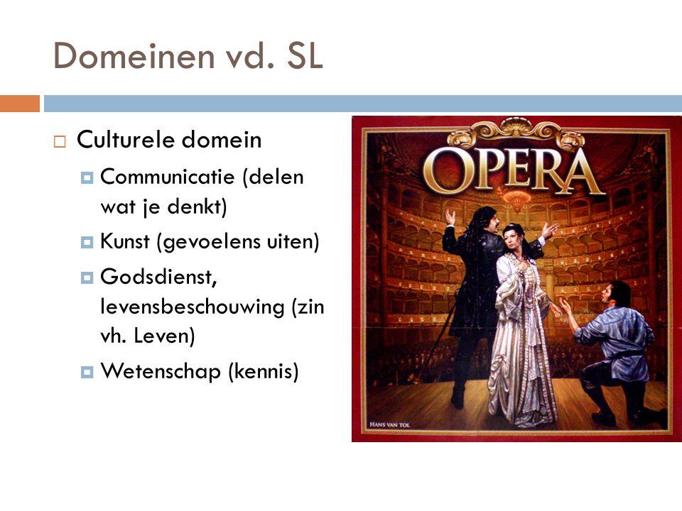 Domeinen vd. SL  Culturele domein  Communicatie (delen wat je denkt)  Kunst (gevoelens uiten)  Godsdienst, levensbeschouwing (zin vh. Leven)  Wet