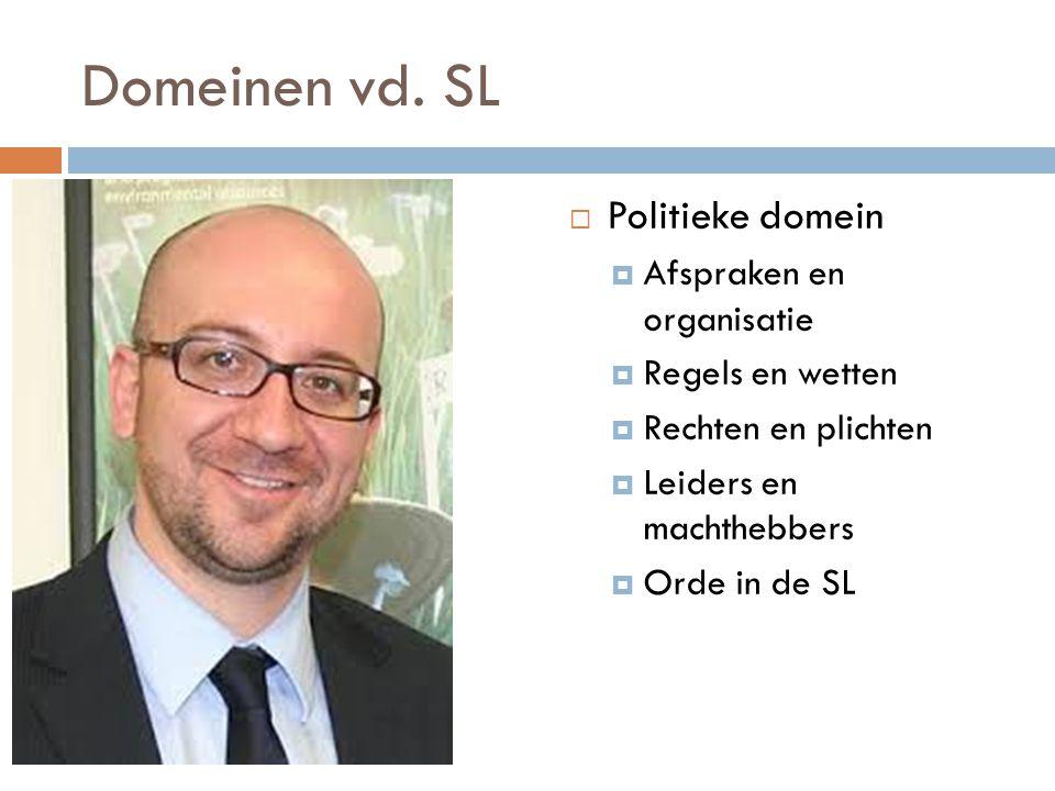 Domeinen vd. SL  Politieke domein  Afspraken en organisatie  Regels en wetten  Rechten en plichten  Leiders en machthebbers  Orde in de SL