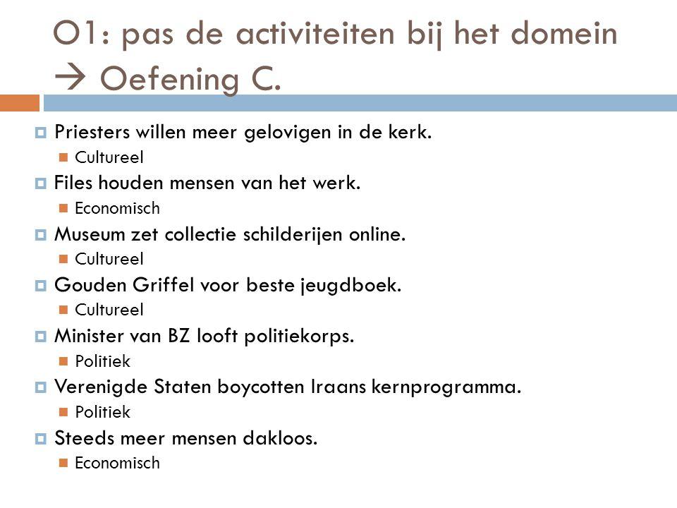 O1: pas de activiteit bij het domein 1.Economische domein 1.