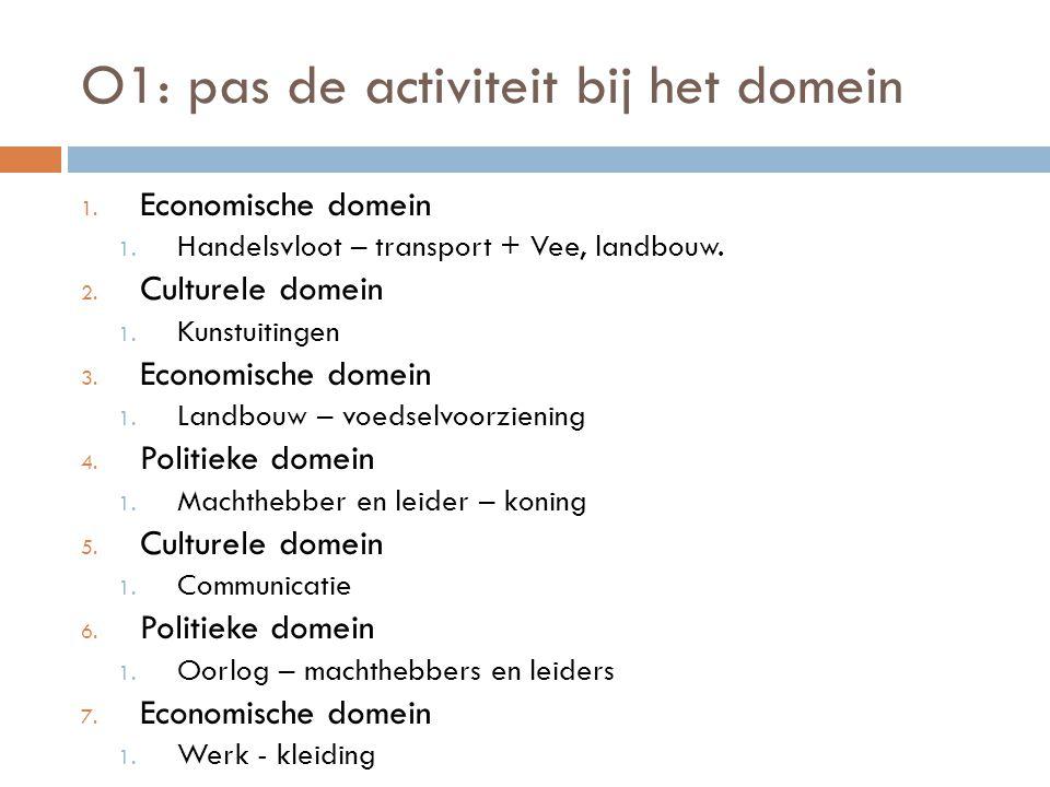 O1: pas de activiteit bij het domein 1. Economische domein 1. Handelsvloot – transport + Vee, landbouw. 2. Culturele domein 1. Kunstuitingen 3. Econom