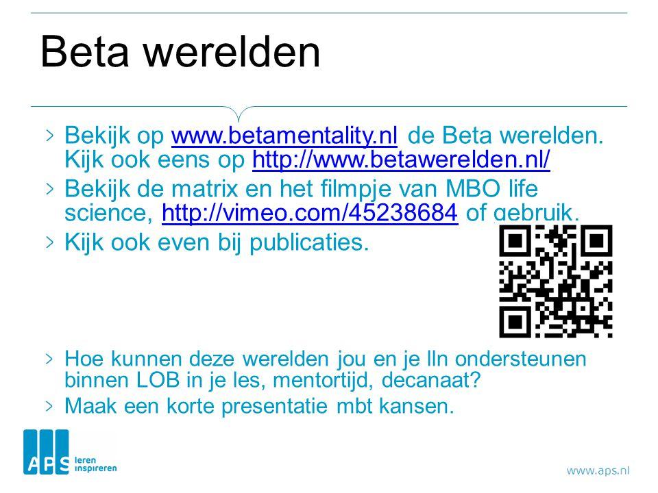 Beta werelden Bekijk op www.betamentality.nl de Beta werelden.