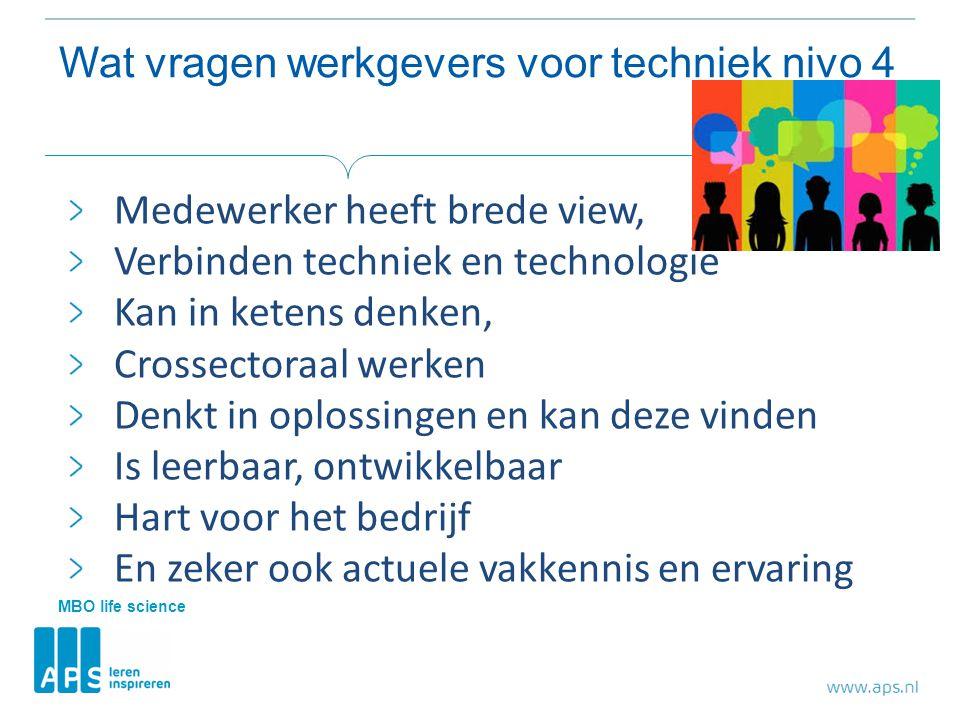 Wat vragen werkgevers voor techniek nivo 4 Medewerker heeft brede view, Verbinden techniek en technologie Kan in ketens denken, Crossectoraal werken D