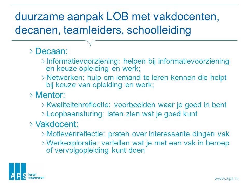 duurzame aanpak LOB met vakdocenten, decanen, teamleiders, schoolleiding Decaan: Informatievoorziening: helpen bij informatievoorziening en keuze ople