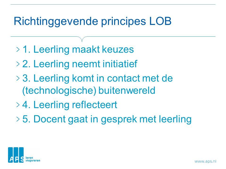Richtinggevende principes LOB 1. Leerling maakt keuzes 2. Leerling neemt initiatief 3. Leerling komt in contact met de (technologische) buitenwereld 4