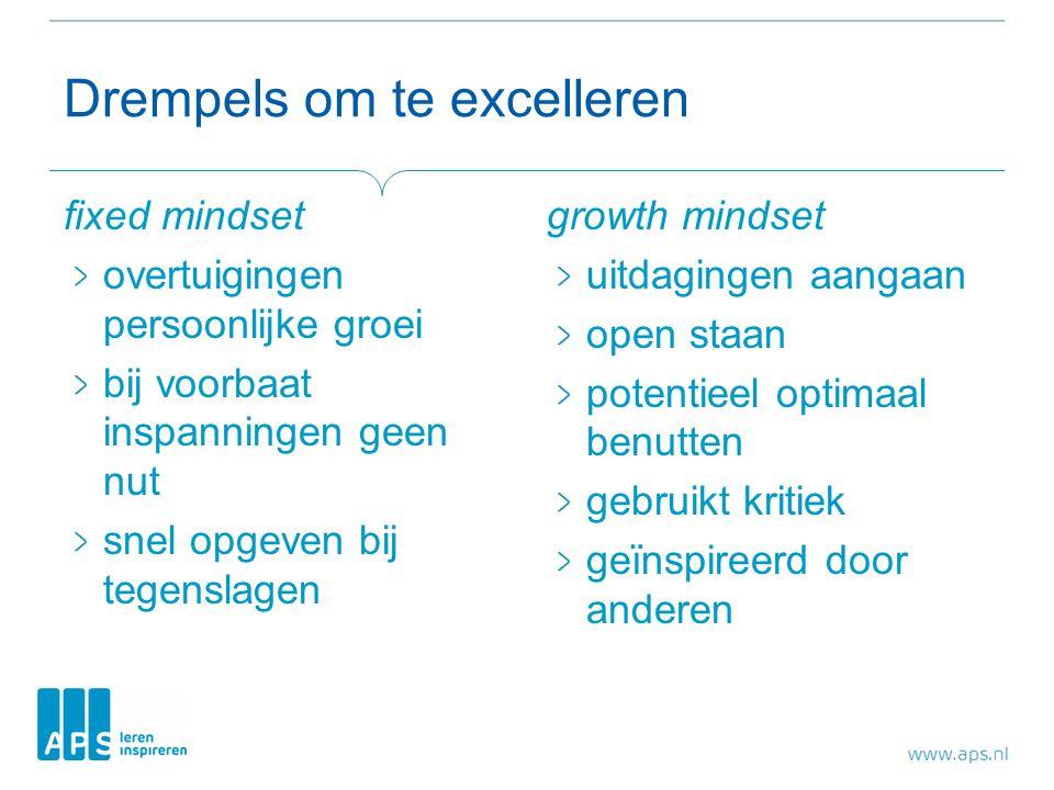 Drempels om te excelleren fixed mindset overtuigingen persoonlijke groei bij voorbaat inspanningen geen nut snel opgeven bij tegenslagen growth mindse