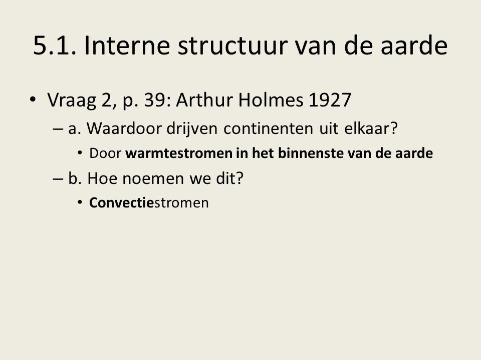 5.1.Interne structuur van de aarde Vraag 2, p. 39: Arthur Holmes 1927 – a.