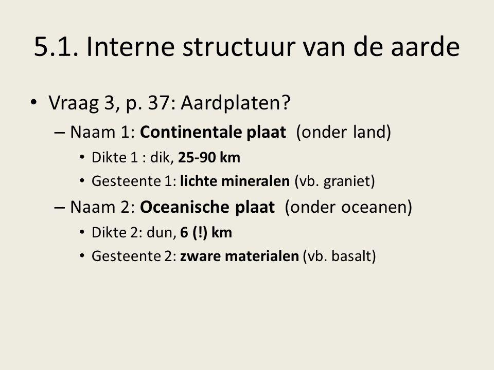 5.1.Interne structuur van de aarde Vraag 3, p. 37: Aardplaten.