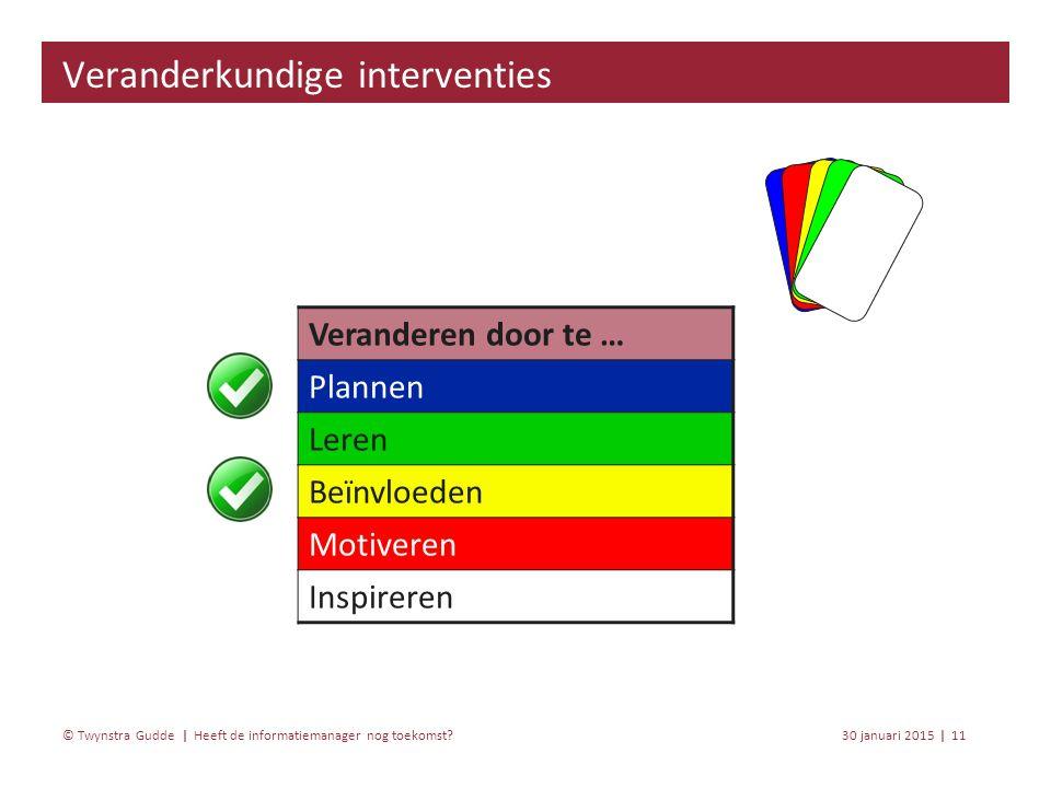 Heeft de informatiemanager nog toekomst? 30 januari 201511 | © Twynstra Gudde | Veranderkundige interventies Veranderen door te … Plannen Leren Beïnvl