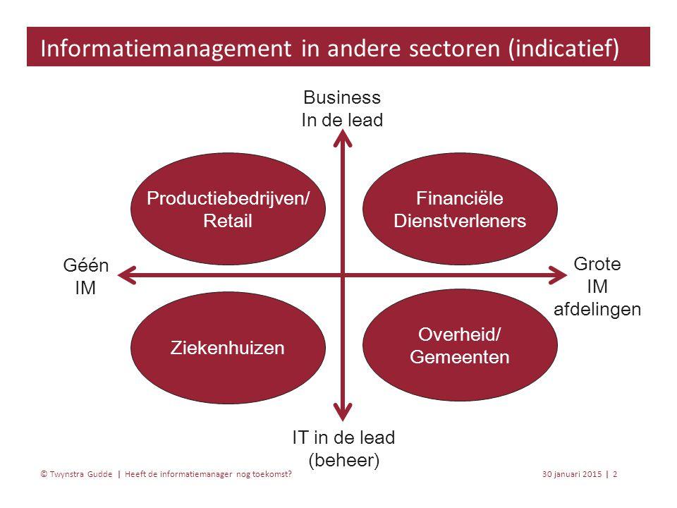 Heeft de informatiemanager nog toekomst? 30 januari 20152 | © Twynstra Gudde | Informatiemanagement in andere sectoren (indicatief) Business In de lea