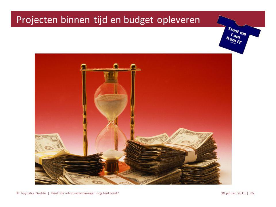 Heeft de informatiemanager nog toekomst? 30 januari 201526 | © Twynstra Gudde | Projecten binnen tijd en budget opleveren