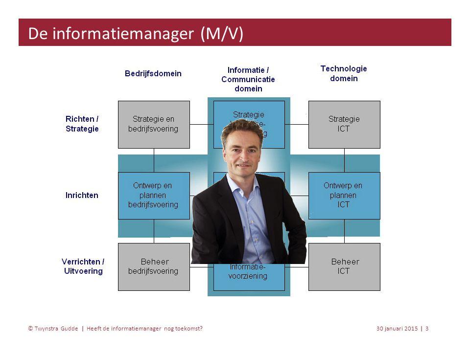 Heeft de informatiemanager nog toekomst? 30 januari 20153 | © Twynstra Gudde | De informatiemanager (M/V)