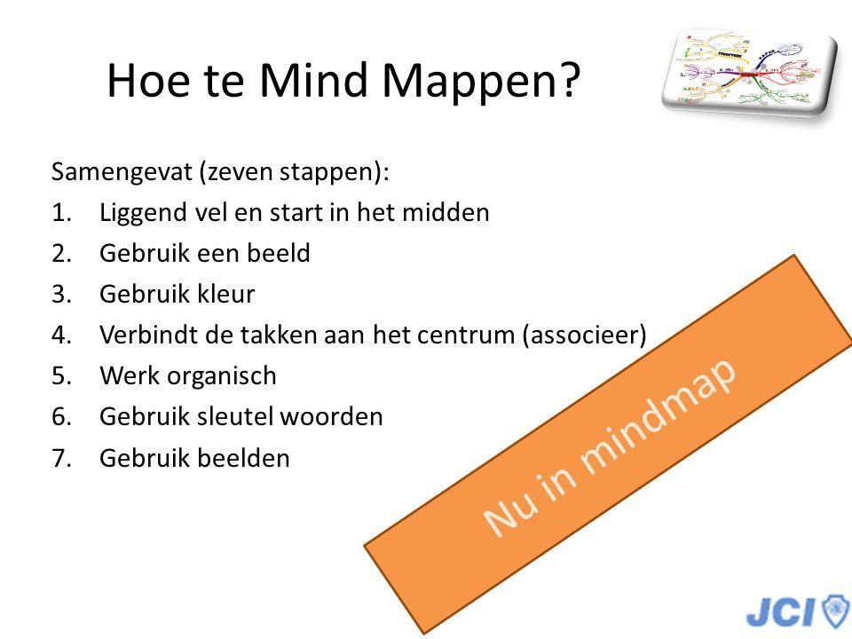 Hoe te Mind Mappen? Samengevat (zeven stappen): 1.Liggend vel en start in het midden 2.Gebruik een beeld 3.Gebruik kleur 4.Verbindt de takken aan het