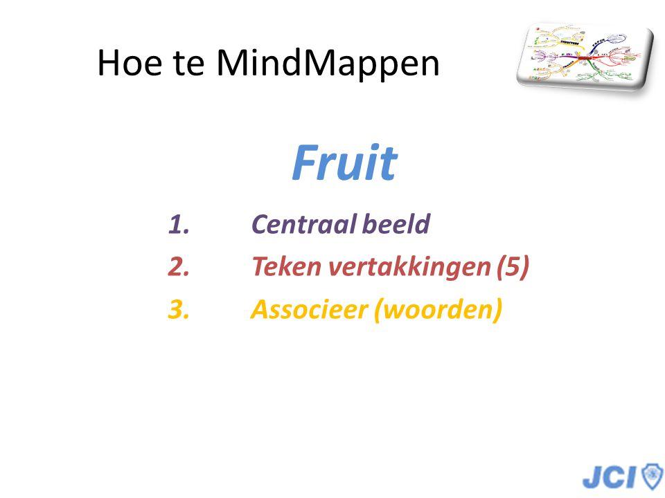 Hoe te MindMappen Fruit 1.Centraal beeld 2.Teken vertakkingen (5) 3.Associeer (woorden)