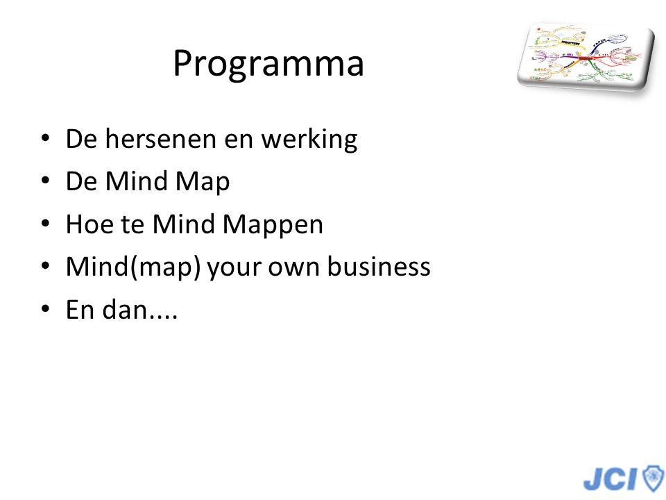 De MindMap Voorbereidingen: Blank (niet gelinieerd) vel papier Gekleurde pennen / stiften Je hersenen Jouw voorstellingsvermogen
