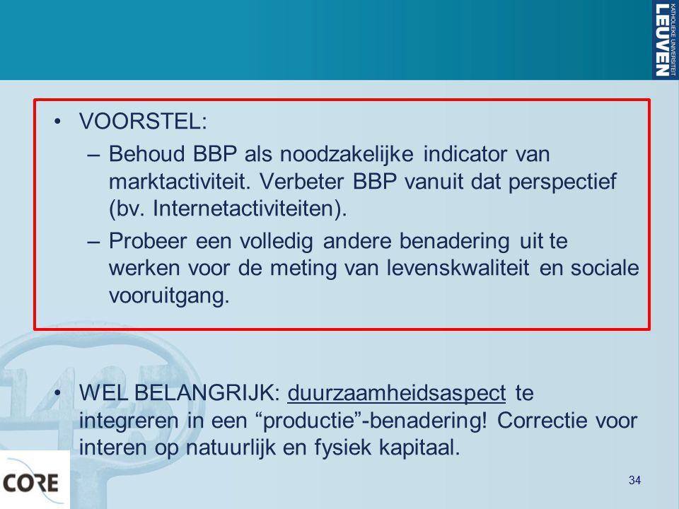 VOORSTEL: –Behoud BBP als noodzakelijke indicator van marktactiviteit. Verbeter BBP vanuit dat perspectief (bv. Internetactiviteiten). –Probeer een vo