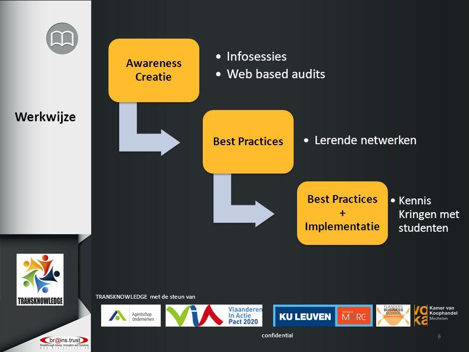 confidential TRANSKNOWLEDGE met de steun van 6 Awareness Creatie Infosessies Web based audits Best Practices Lerende netwerken Best Practices + Implementatie Kennis Kringen met studenten Werkwijze