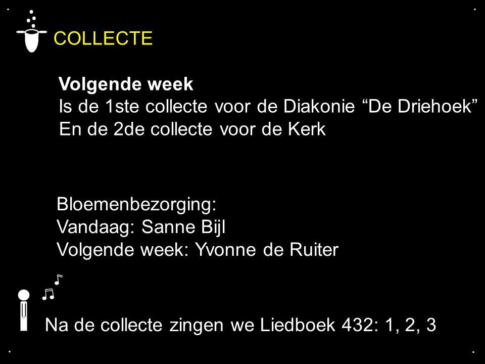 """.... COLLECTE Volgende week Is de 1ste collecte voor de Diakonie """"De Driehoek"""" En de 2de collecte voor de Kerk Bloemenbezorging: Vandaag: Sanne Bijl V"""