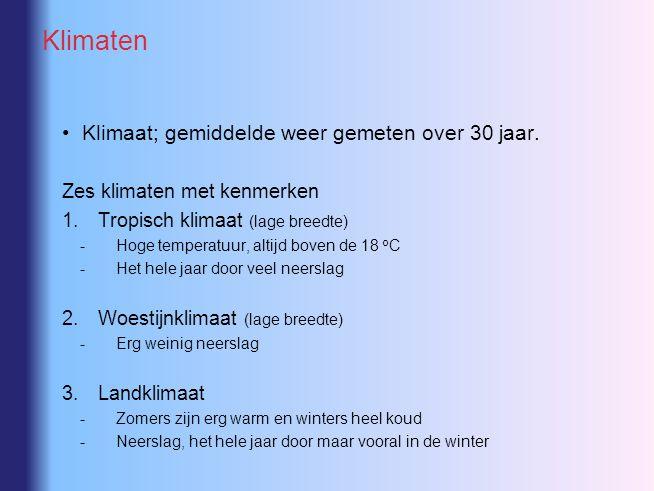 Klimaten Klimaat; gemiddelde weer gemeten over 30 jaar. Zes klimaten met kenmerken 1.Tropisch klimaat (lage breedte) -Hoge temperatuur, altijd boven d