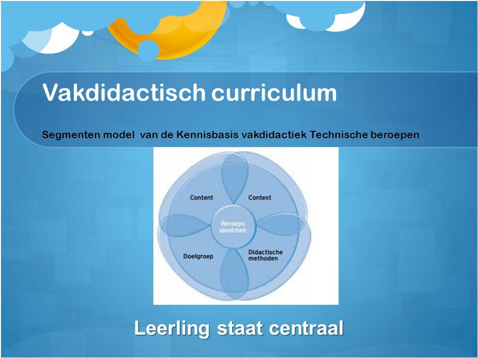 Vakdidactisch curriculum Segmenten model van de Kennisbasis vakdidactiek Technische beroepen Segment A Leerling staat centraal