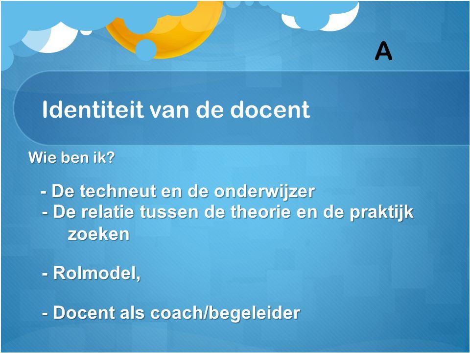 Identiteit van de docent Wie ben ik? - De techneut en de onderwijzer - De techneut en de onderwijzer - De relatie tussen de theorie en de praktijk zoe