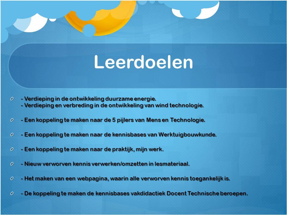 Leerdoelen - Verdieping in de ontwikkeling duurzame energie. - Verdieping en verbreding in de ontwikkeling van wind technologie. - Een koppeling te ma