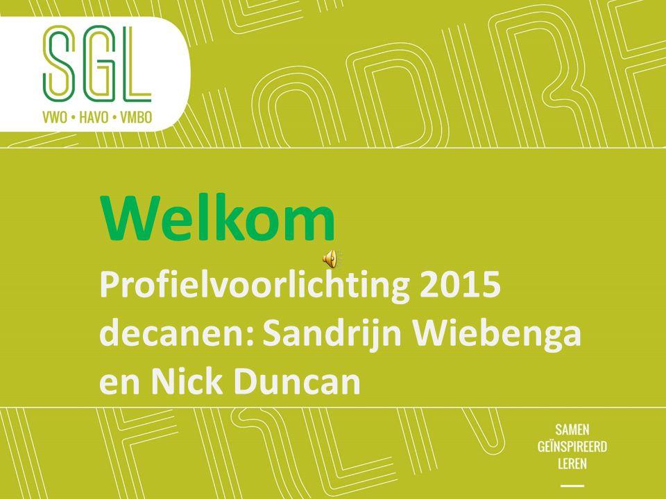 Welkom Profielvoorlichting 2015 decanen: Sandrijn Wiebenga en Nick Duncan