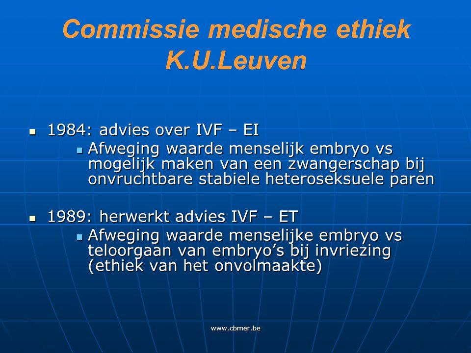 www.cbmer.be Commissie voor medische ethiek 1998: advies over PID 1998: advies over PID Onderscheid tussen genetische en ontwikkelingsindividualisering Onderscheid tussen genetische en ontwikkelingsindividualisering 2002: advies stamcelonderzoek 2002: advies stamcelonderzoek ES-cel is geen embryo ES-cel is geen embryo Aantal overtallige embryo's beperken Aantal overtallige embryo's beperken Bevestigd in 2007 (na gesprek met Verfaillie) Bevestigd in 2007 (na gesprek met Verfaillie)