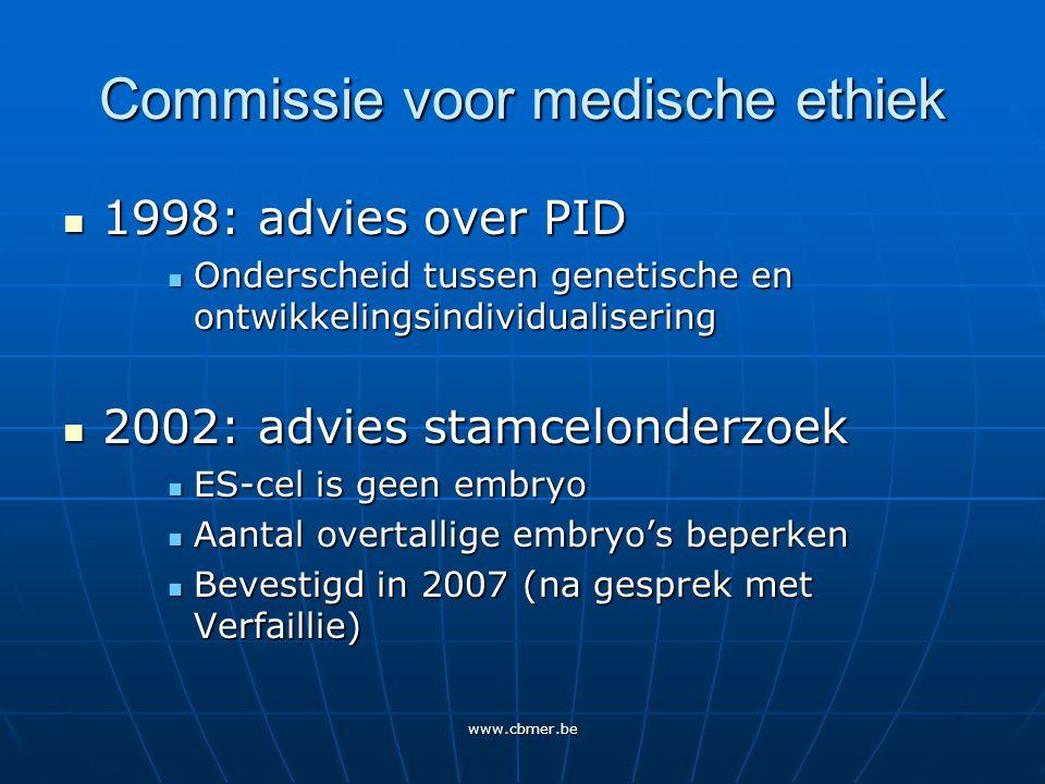 www.cbmer.be Advies 1984 De commissie heeft ernstige bezwaren tegen een werkwijze die leidt tot overtallige embryo's: alles moet in het werk gesteld worden om overtallige embryo's te vermijden (p.