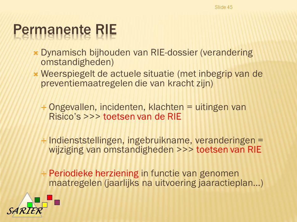 SARIER Slide 45  Dynamisch bijhouden van RIE-dossier (verandering omstandigheden)  Weerspiegelt de actuele situatie (met inbegrip van de preventiemaatregelen die van kracht zijn)  Ongevallen, incidenten, klachten = uitingen van Risico's >>> toetsen van de RIE  Indienststellingen, ingebruikname, veranderingen = wijziging van omstandigheden >>> toetsen van RIE  Periodieke herziening in functie van genomen maatregelen (jaarlijks na uitvoering jaaractieplan...)