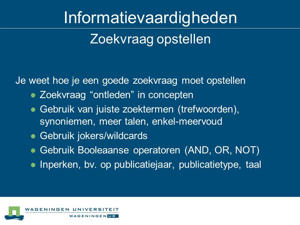 Informatievaardigheden Betrouwbaarheid en kwaliteit Je kunt de kwaliteit van een document beoordelen, o.a.