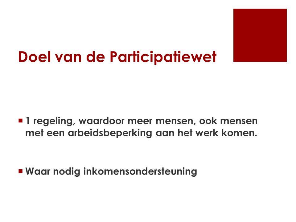 Doel van de Participatiewet  1 regeling, waardoor meer mensen, ook mensen met een arbeidsbeperking aan het werk komen.