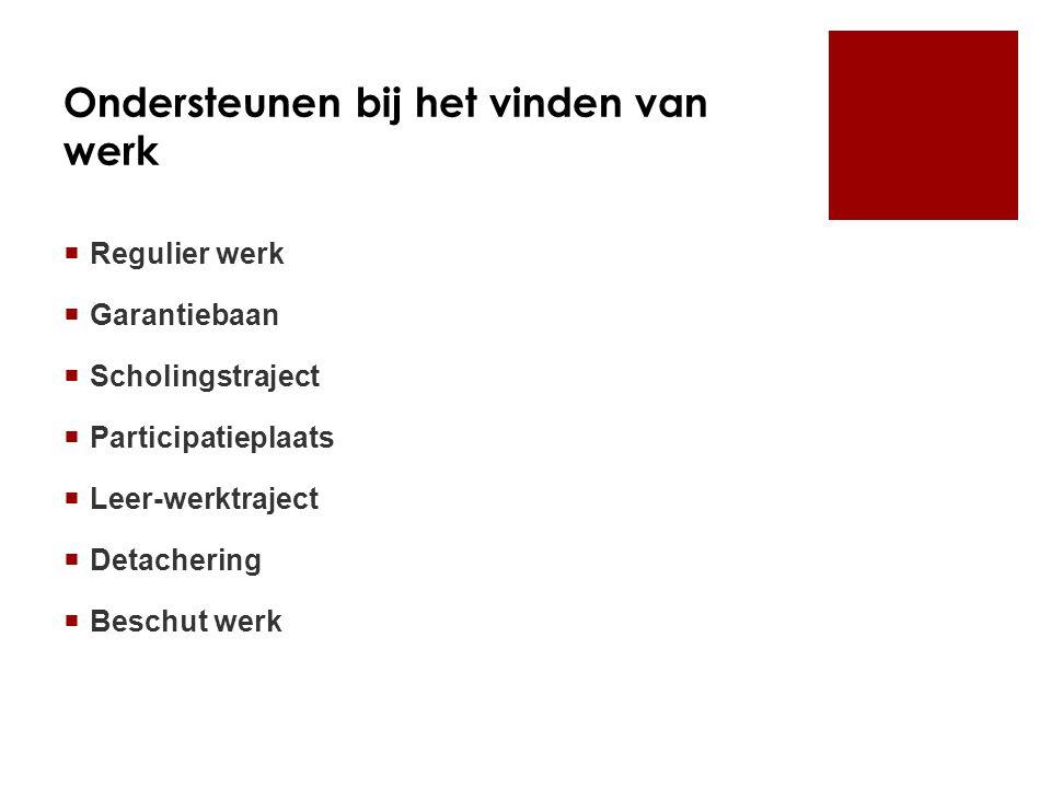 Ondersteunen bij het vinden van werk  Regulier werk  Garantiebaan  Scholingstraject  Participatieplaats  Leer-werktraject  Detachering  Beschut werk